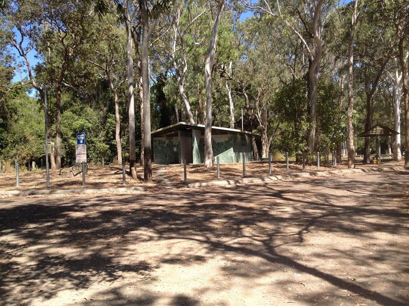 Rifle Creek Rest AreaEntrance to campground with amenities and sheltered picnic tables